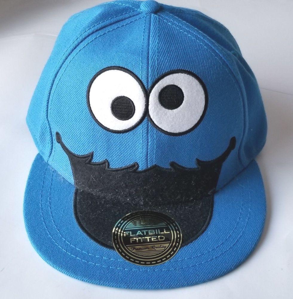 619f570ccca81 Mens SESAME STREET Cookie Monster Fitted Flatbill Hat Wool Blend Ball Cap ~  S M  SesameStreet  BaseballCap