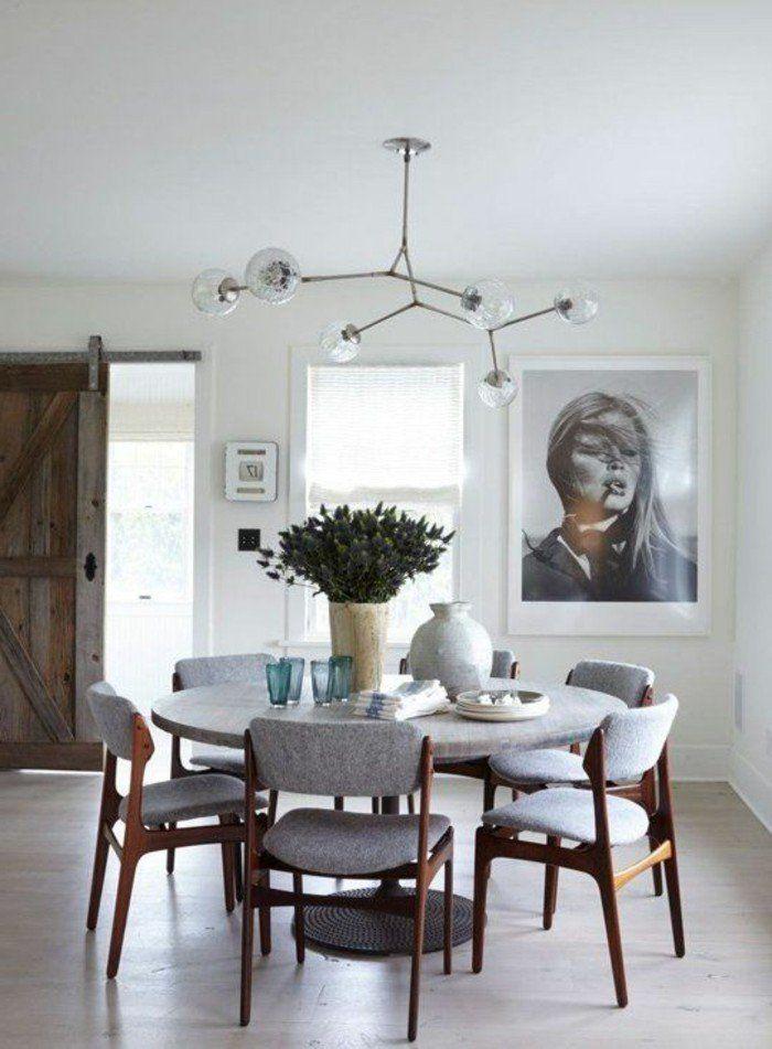 meubles salle manger ambiance gris et bois et portrait de brigitte bardot