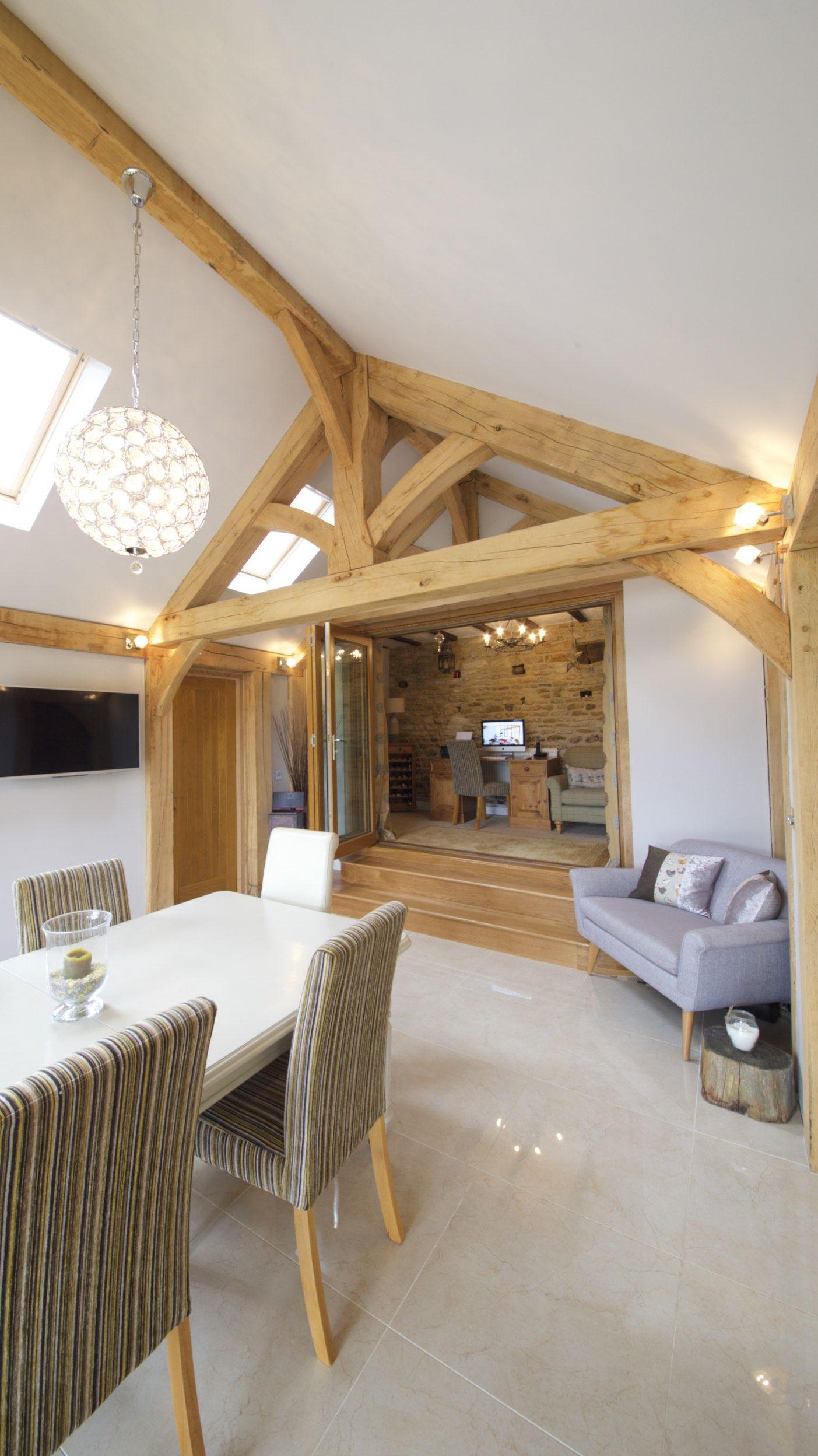 Contemporary oak dining room oak frame building extension for Modern oak dining room sets