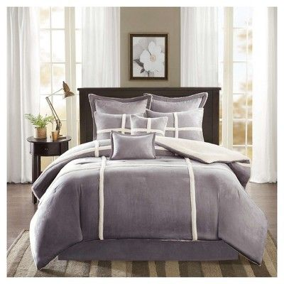 Brewer Suede Comforter Set California King Gray 8pc