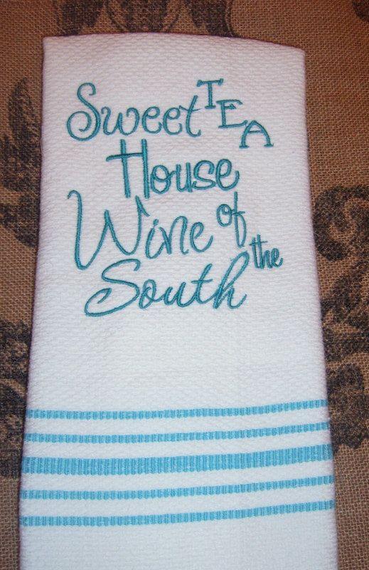 SALE, Kitchen Towel, Machine Embroidery, Kitchen Decor, Aqua, Decorative  Dish Towel
