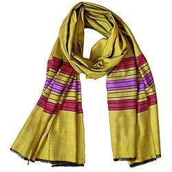 House of Wandering Silk - Afghan silk scarf in gold (Af09)