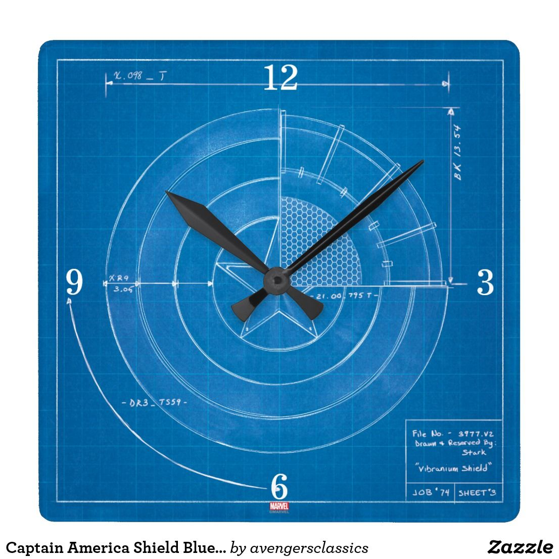 Captain america shield blueprint square wall clock pinterest captain america shield blueprint square wall clock malvernweather Images