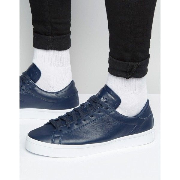 buy popular fd4bb 1c682 adidas Originals Court Vantage Trainers In Blue S76209 ( 76) ❤ liked on Polyvore  featuring men s fashion, men s shoes, men s sneakers, blue, mens lace up ...