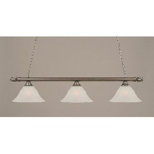 """Toltec Pool Table Light Brushed Nickel Round Bar 14"""" White Marble"""