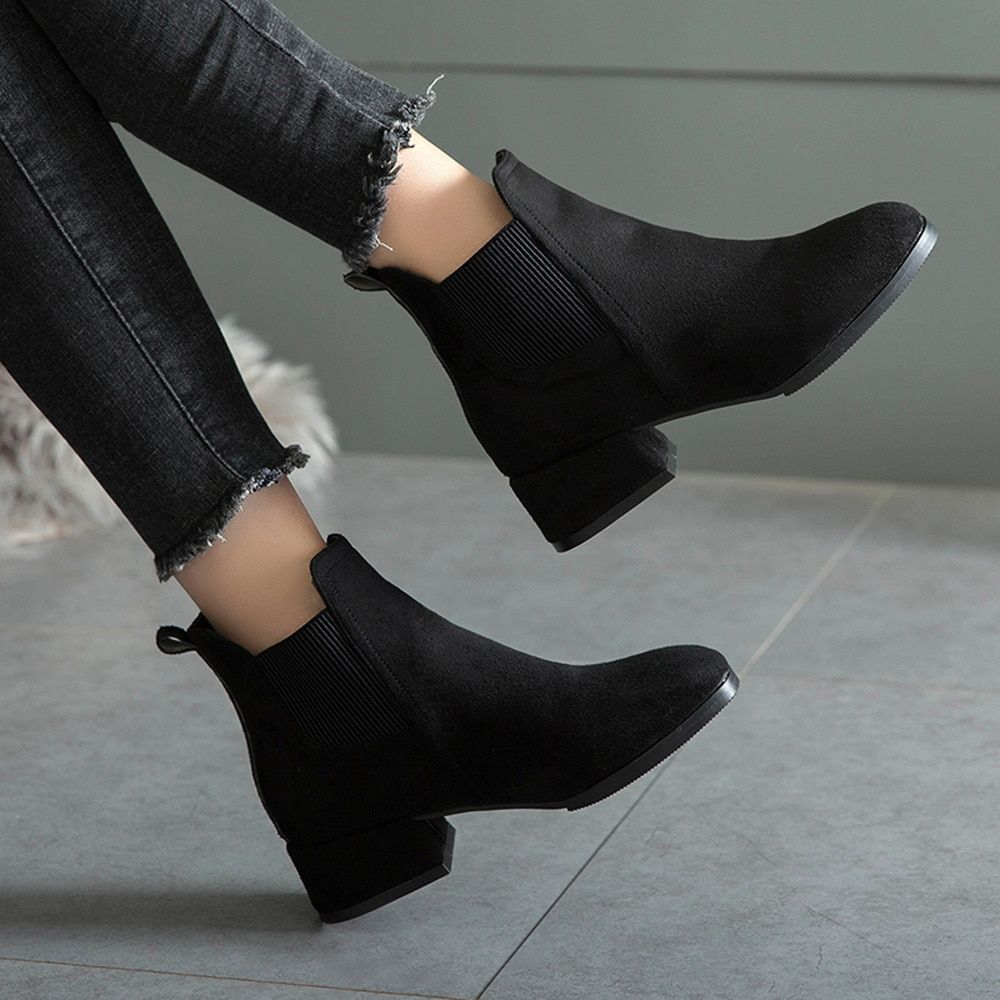 Black and Brown Classy Winter Ankle Boots #shoeboots