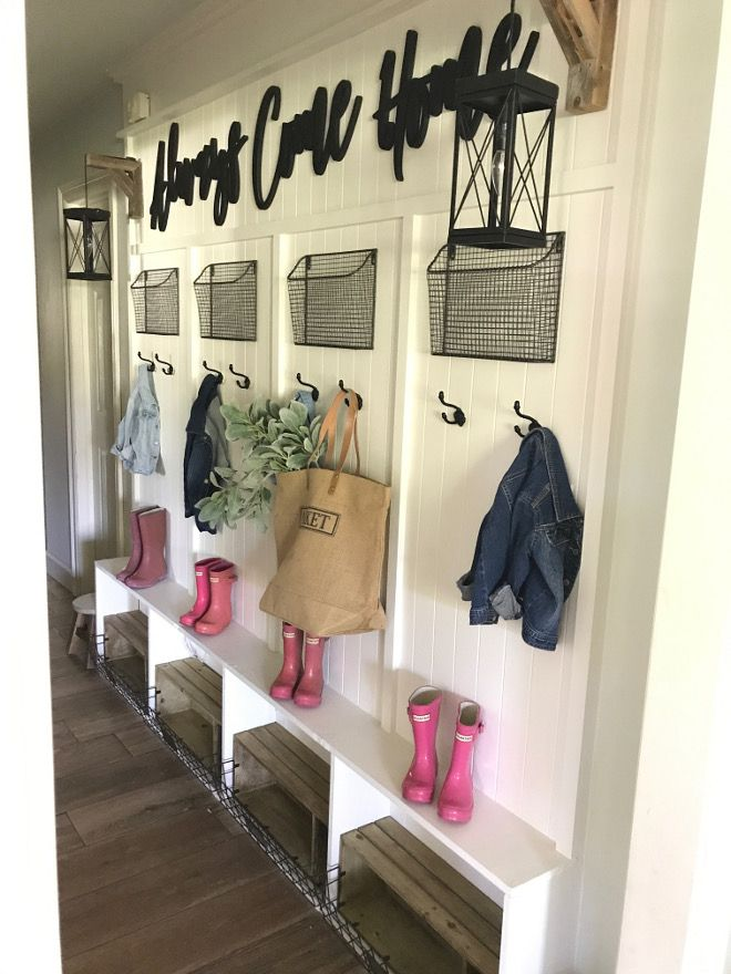 DIY Farmhouse Mudroom Hallway School Drop Zone. Beautiful