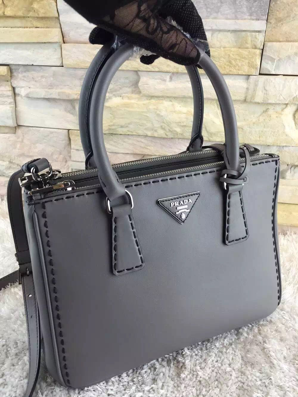 f04853373f Prada Hand-stitched City Calf Leather Tote BN2274 BN2863 Grey 2015 ...