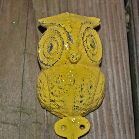 Bright Yellow Wall Hook Owl /Ornate /Cottage,Shabby Chic /Key Hook ...
