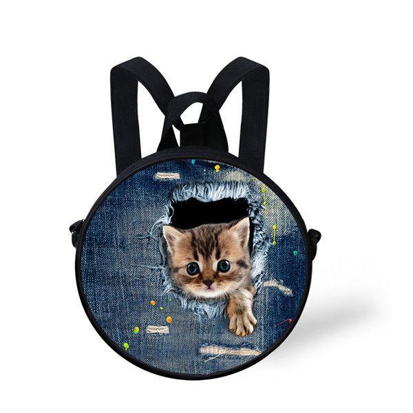 c6c2f6e2cb3 Multi-function Kindergarten Baby School Bags Boy Girls Schoolbag Dot Print  Round Backpack Animal Horse