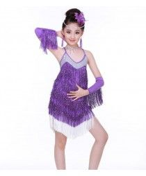 11dace99d Fuchsia hot pink royal blue purple violet fringes sequined backless girls  kids children competition performance latin salsa cha cha dance dresses