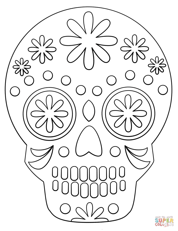 Simple Sugar Skull Coloring Page Free Printable Coloring Pages Coloring Free Page P Skull Coloring Pages Free Printable Coloring Pages Sugar Skull Drawing