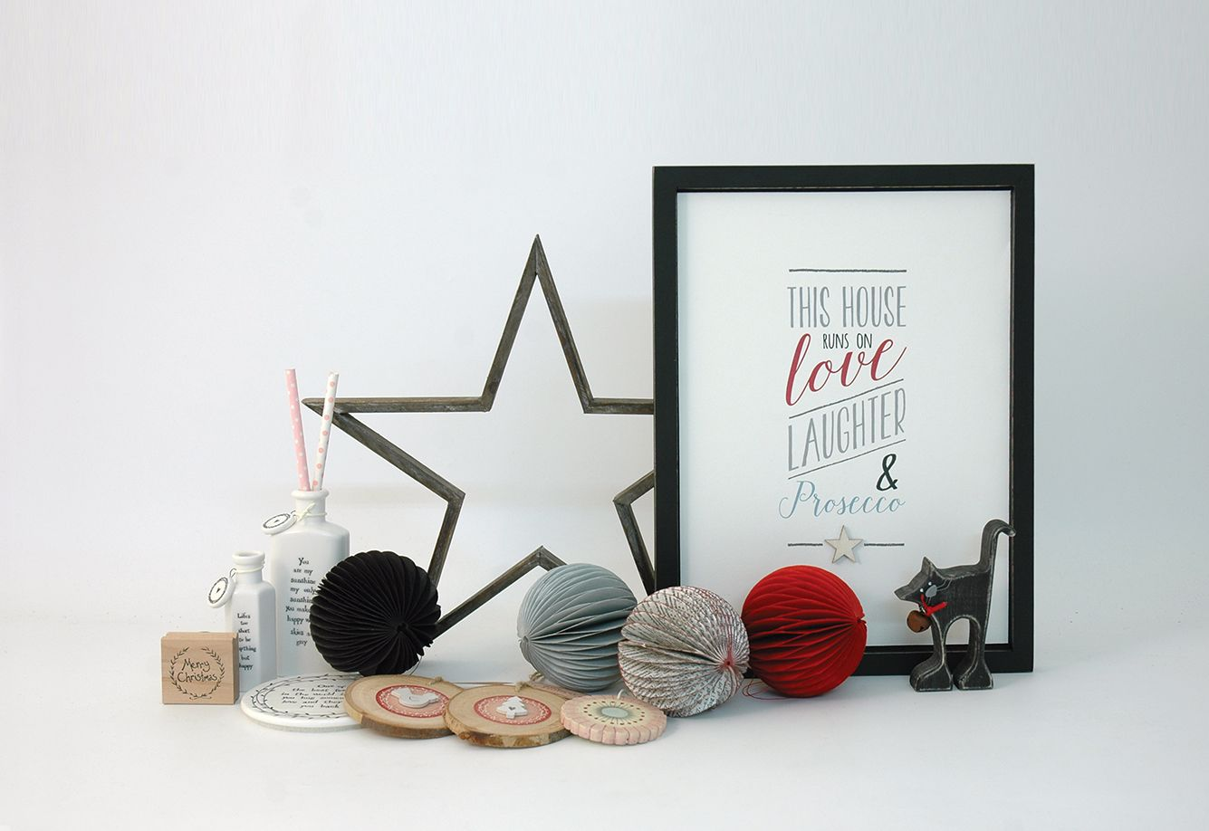 East of India Prosecco Picture (Code 4574) Large Grey Cut Out Star (Code 528)