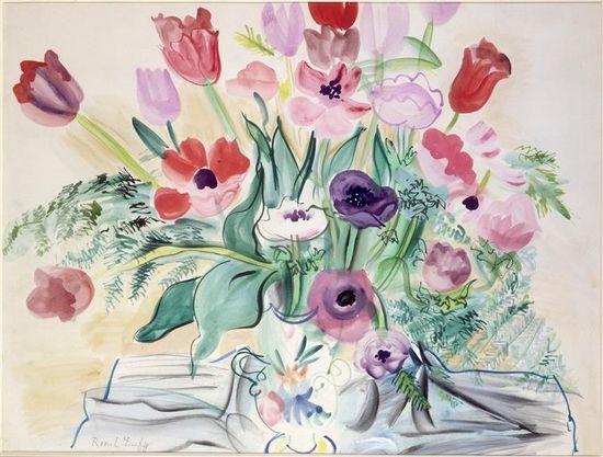 Raoul Dufy Anemones Et Tulipes Aquarelle 1942 Centre Pompidou
