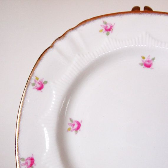 Vintage Queen Anne Dessert Plate With Pink Roses