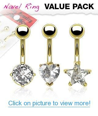 3 Pack Gold Plated Belly Ring Value Pack 14g 3 8 Bar Length