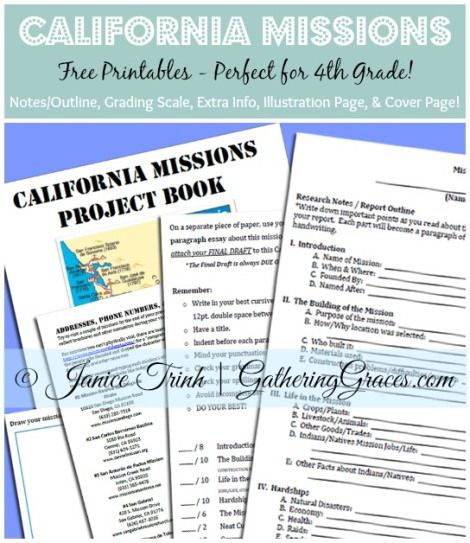 california missions printables collage Crafts Elementary Teaching - science project report