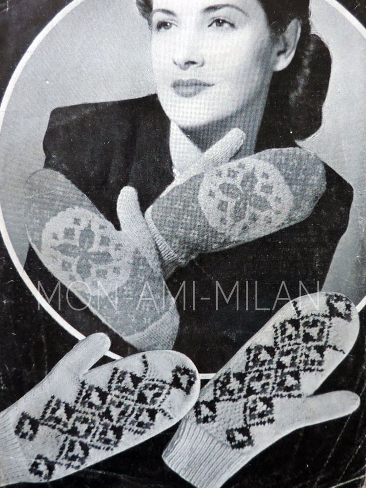 Vintage 1940s Knitting Pattern LADIES WOMENS FAIR ISLE MITTENS ...