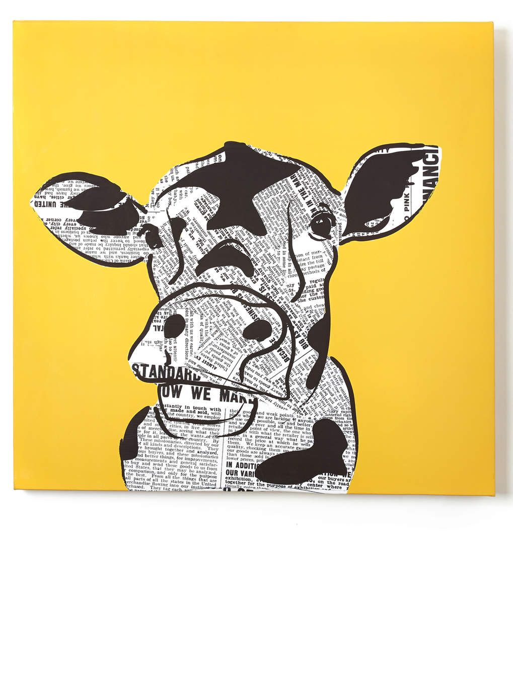 Yellow Pop Art Cow Print Canvas 60x60cm - BHS | Play room ...