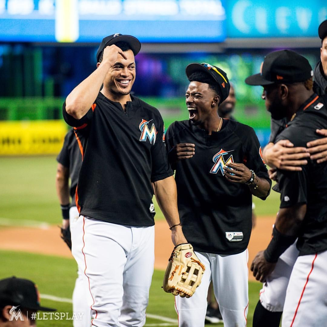 Pin By Brea Johnston On New York Yankees Fans With Images Christian Yelich Giancarlo Stanton Miami Marlins