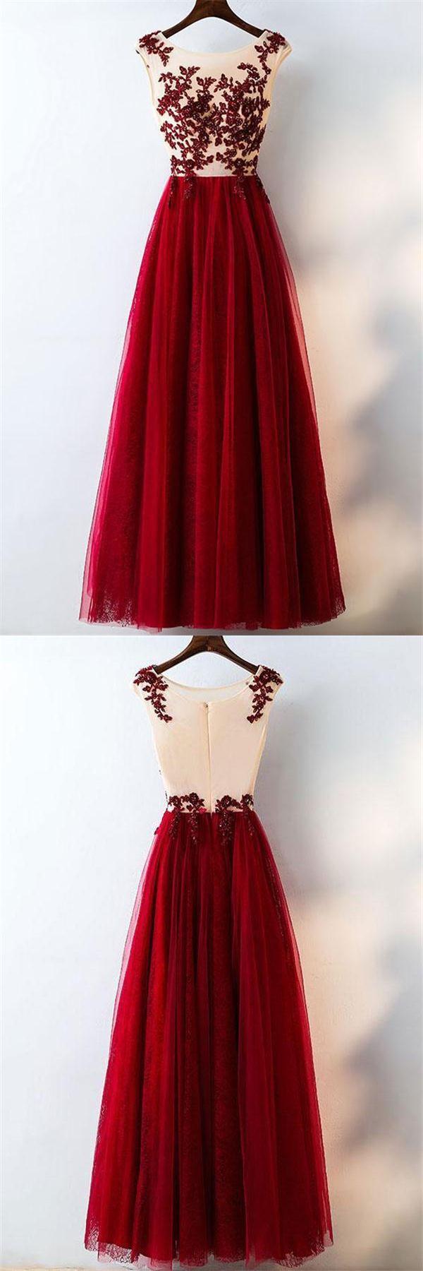 Sparkly modest long aline lace tulle burgundy long elegant prom