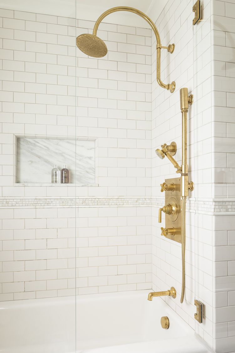 Classic White Subway Tile With Gold Faucets Marianne