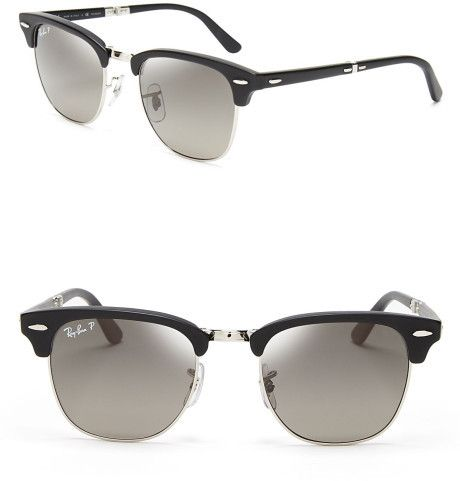8630c574cec RAY-BAN Polarized Folding Clubmaster Sunglasses - Lyst Ray Ban Polarized
