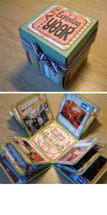 "Step-by-step instructions on how to make an ""exploding box"" of memories... Cool alternative to a scrapbook."