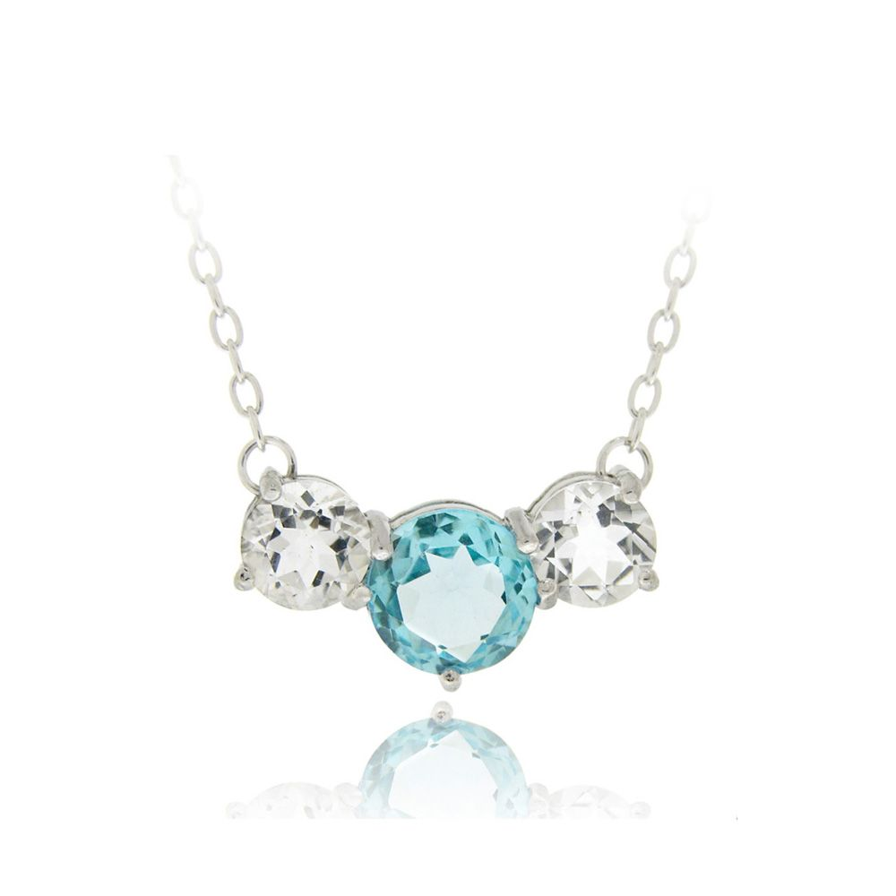 9e4b471194b4af Sterling Silver 4.6ct Swiss Blue Topaz & White Topaz Three-Stone Necklace