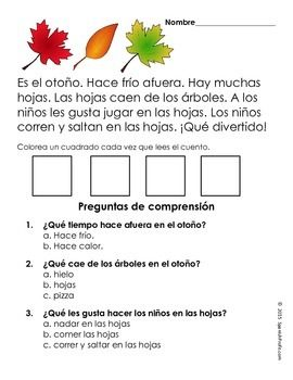 Free Easy Reading Comprehension Passages in Spanish (Fall) Gratis ...
