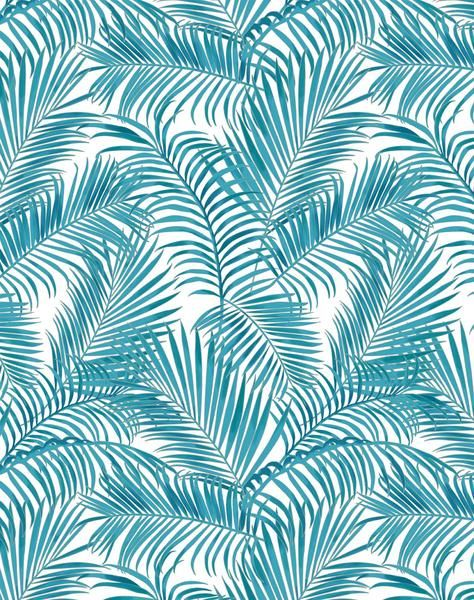 Majestic Palm Wallpaper Turquoise White