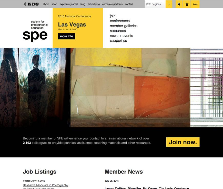 The Society for Photographic Education (SPE) is a national