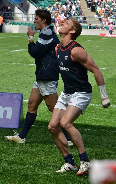 Colin Hawley warming up for a game at the London 7s.