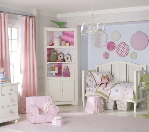 Toddler Girl Room Polka Dot And Owl Decorative Bedroom I Like The  Embroidery Hoops