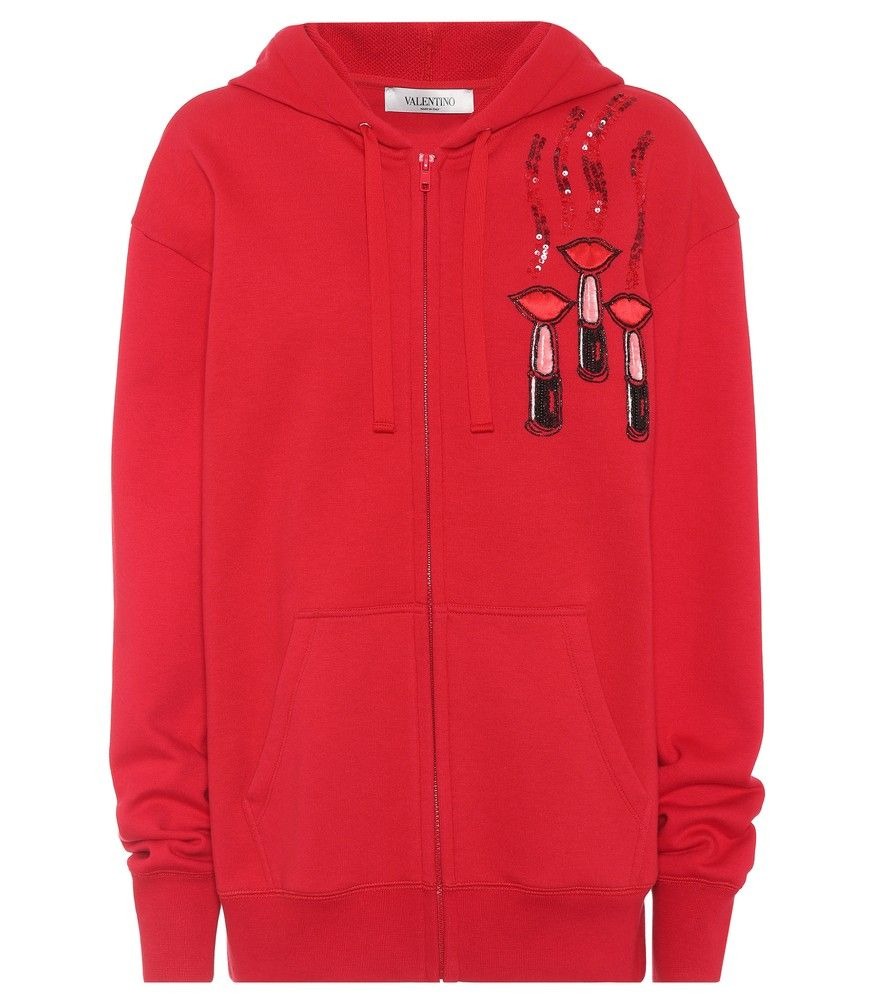 Outlet Great Deals Embroidered cotton hoodie Valentino Cheap Sale 2018 Newest ALkbNM
