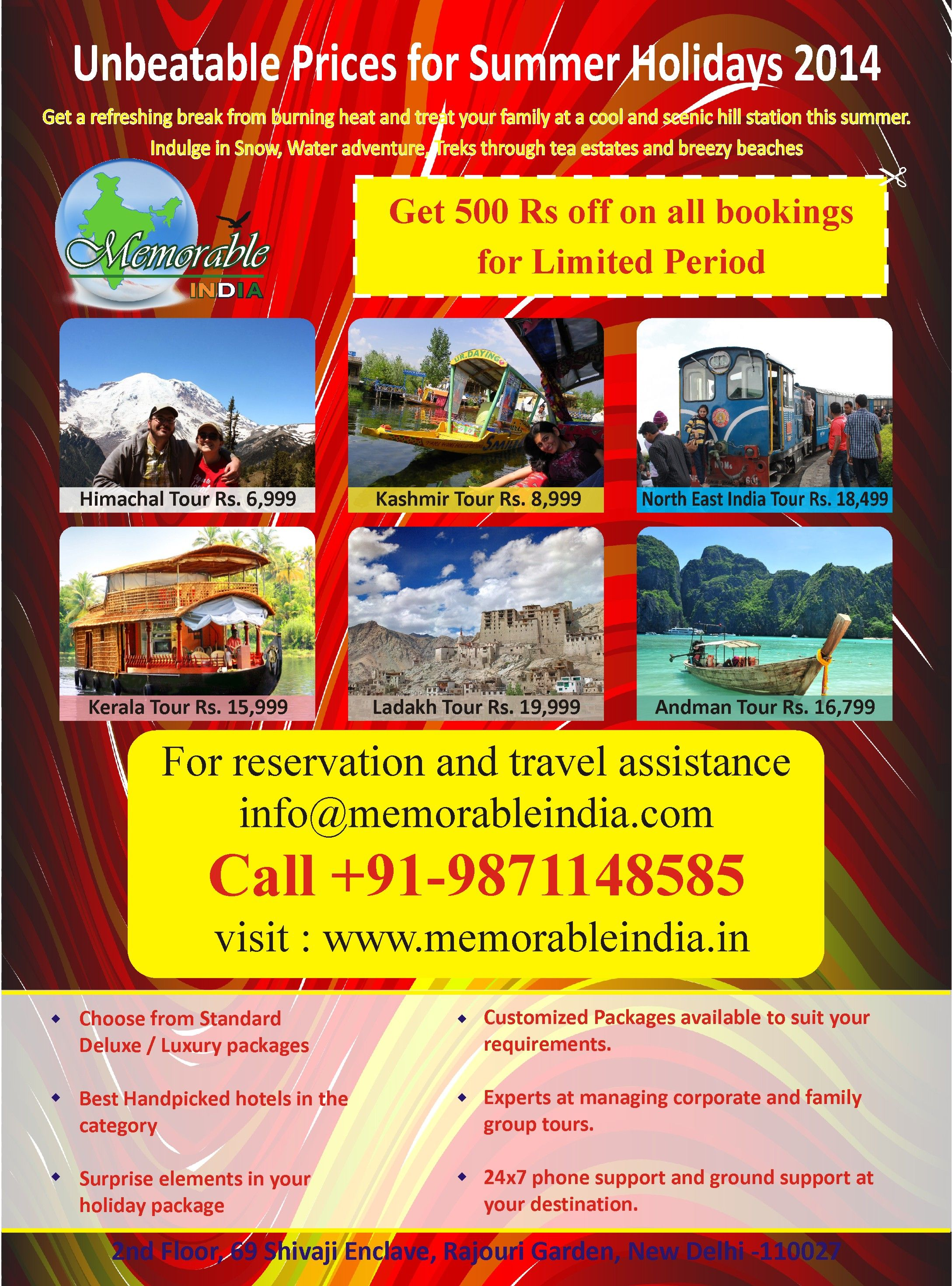Summer Holiday Offers Get 500 Off till 30 April 2014