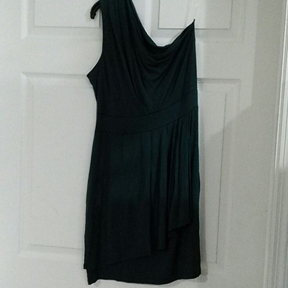 One shoulder cocktail dress size Large Beautiful dark turquoise color, soft silky material, Beautiful dress! Slip on style. Color can be appreciated on the last three pictures. Barlll Dresses One Shoulder