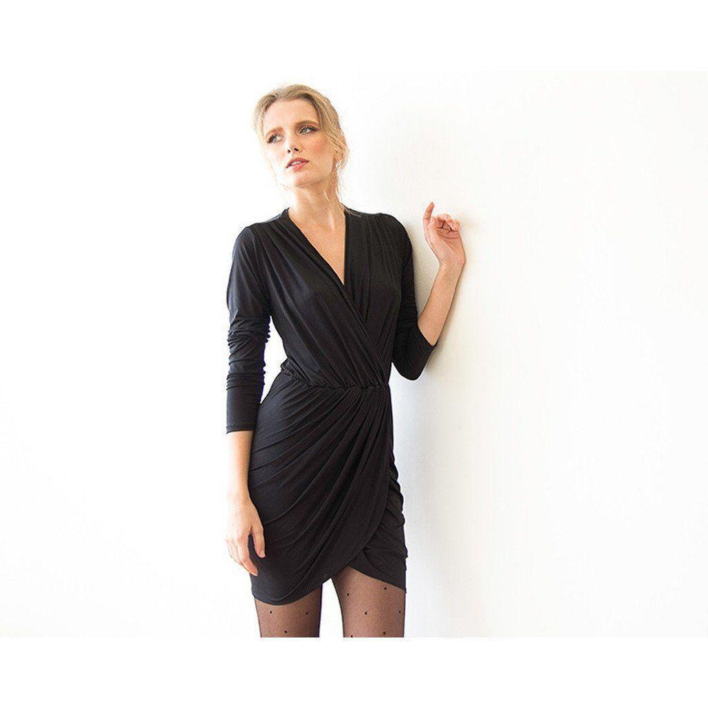 Black long sleeve wrap mini dress products pinterest products