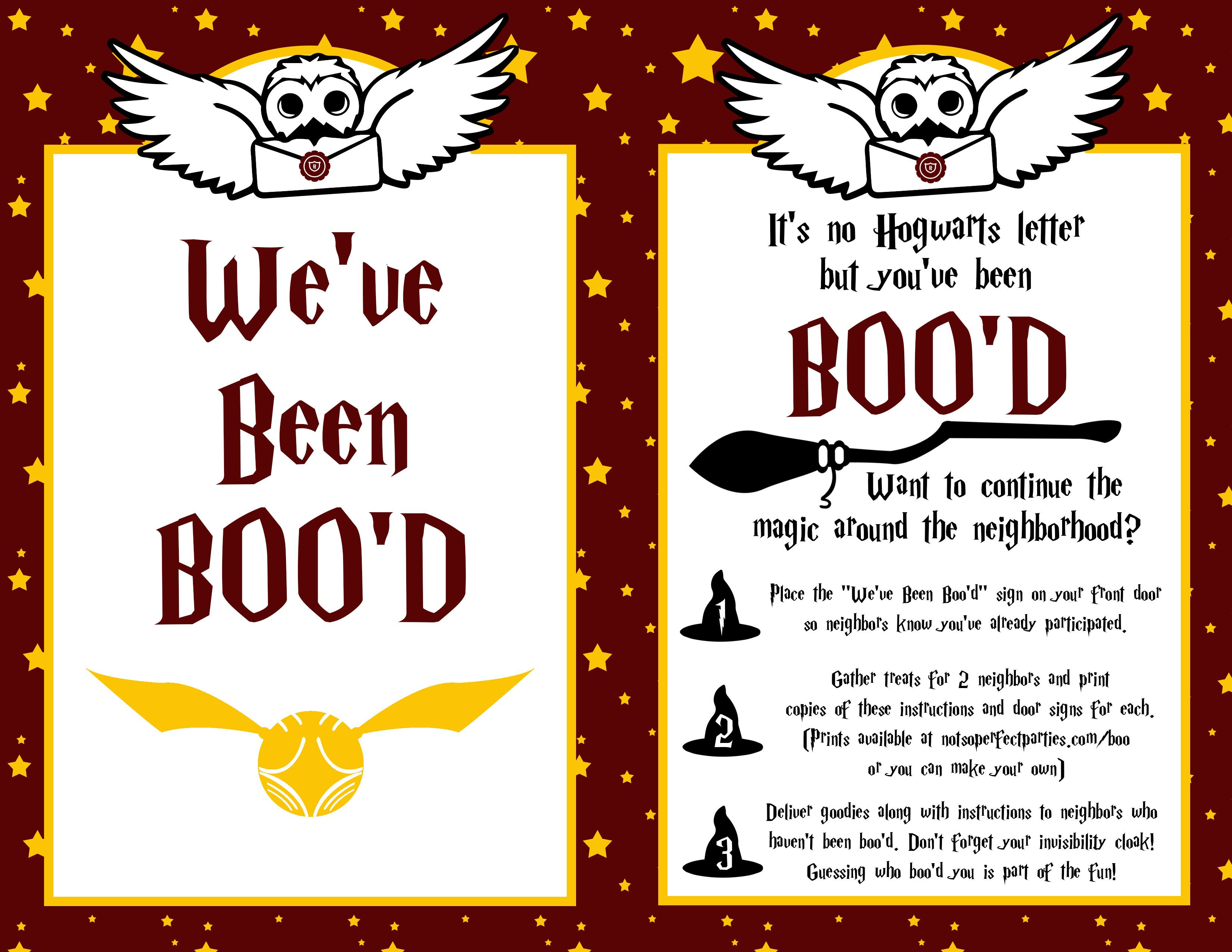 Harry Potter You Ve Been Boo D Free Printable Harry