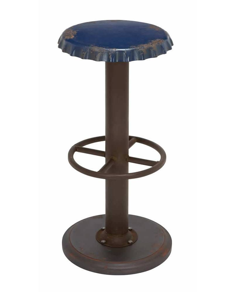 Admirable Antique Blue Metal Bar Stool With Soda Cap Seat Design Cjindustries Chair Design For Home Cjindustriesco