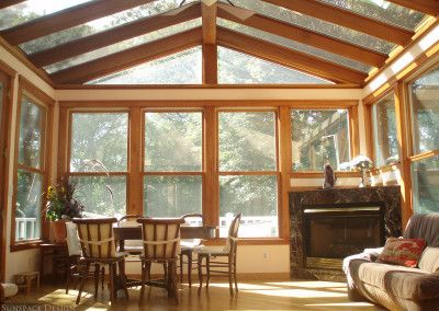 Beautiful Sunroom Addition Featuring Mahogany Wood Frame Insulated