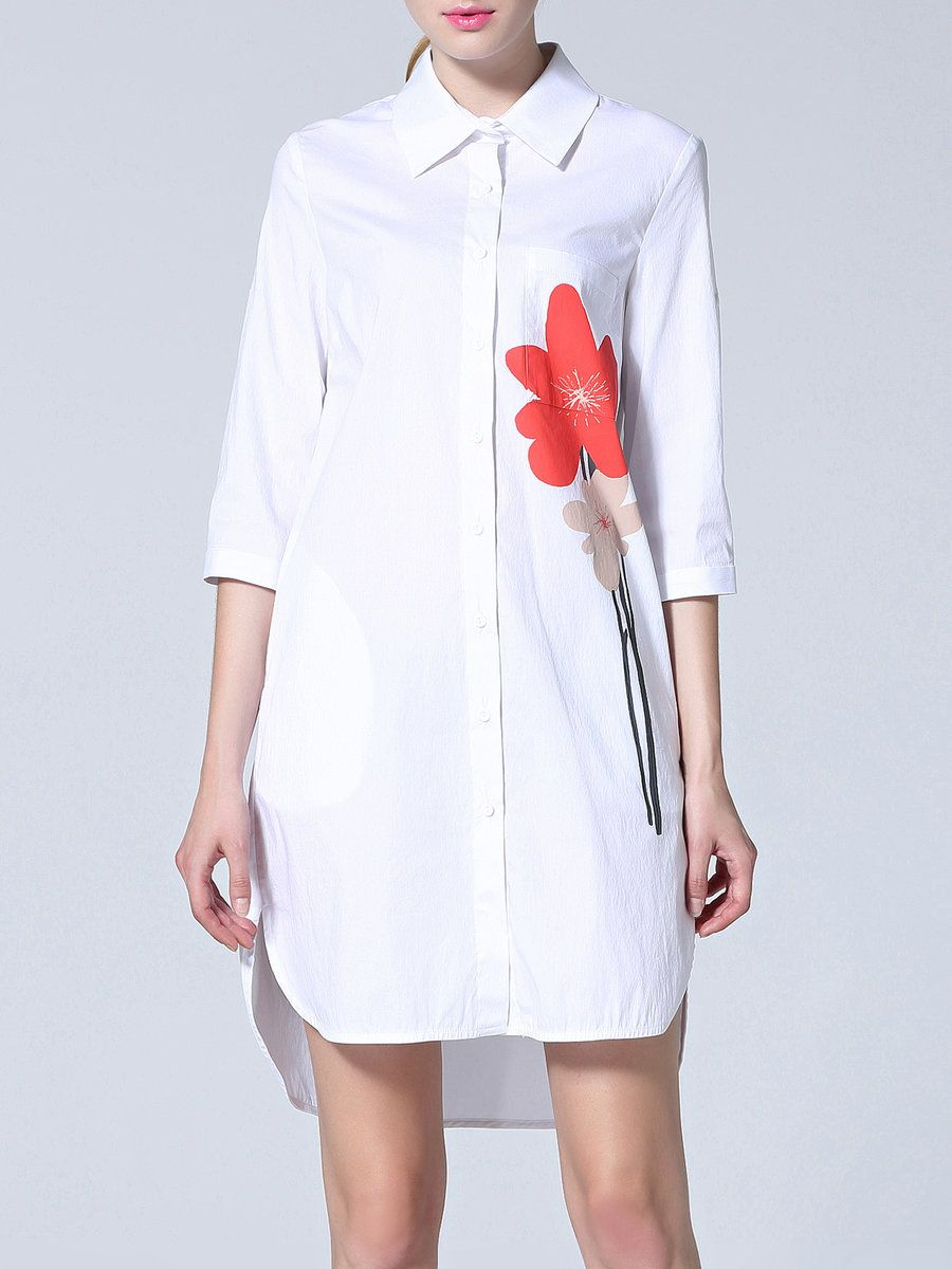 Adorewe stylewe philis shift casual half sleeve cottonblend shirt