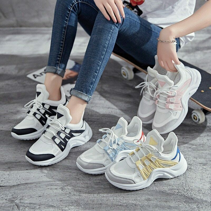 3aabd20c1216d Breathable Mesh Women Casual Shoes Vulcanize Fashion Sneakers Lace Up  Leisure #BreathableMeshChina #FashionSneakers