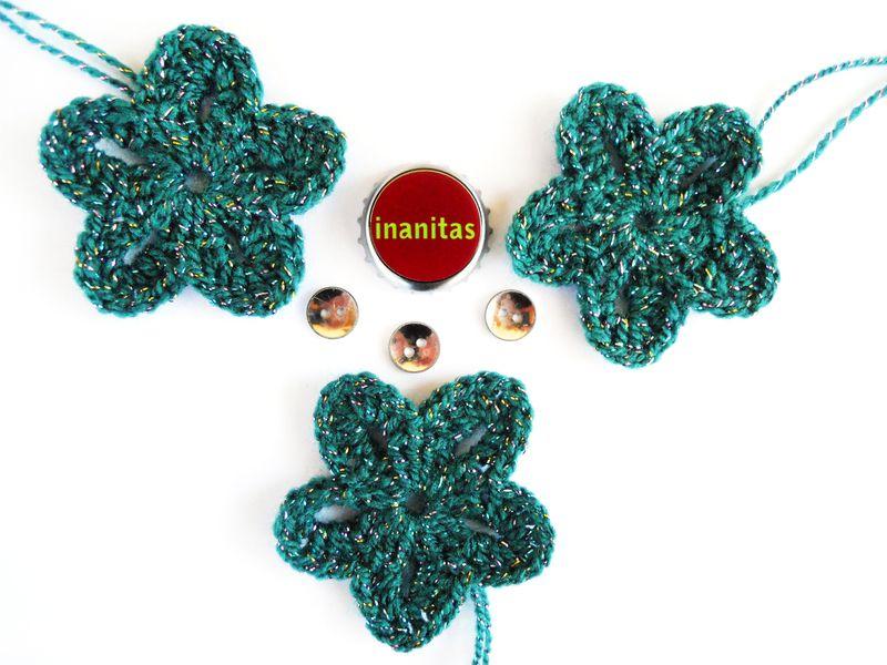 Häkelblüten Set & Vintage Knöpfe <3 Petrol von rund. auf DaWanda.com