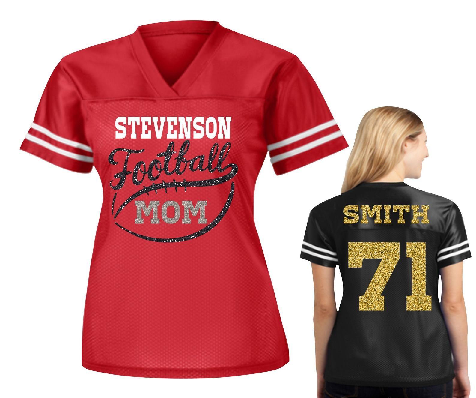 Custom Football Mom Jersey, Personalized Football Spirit