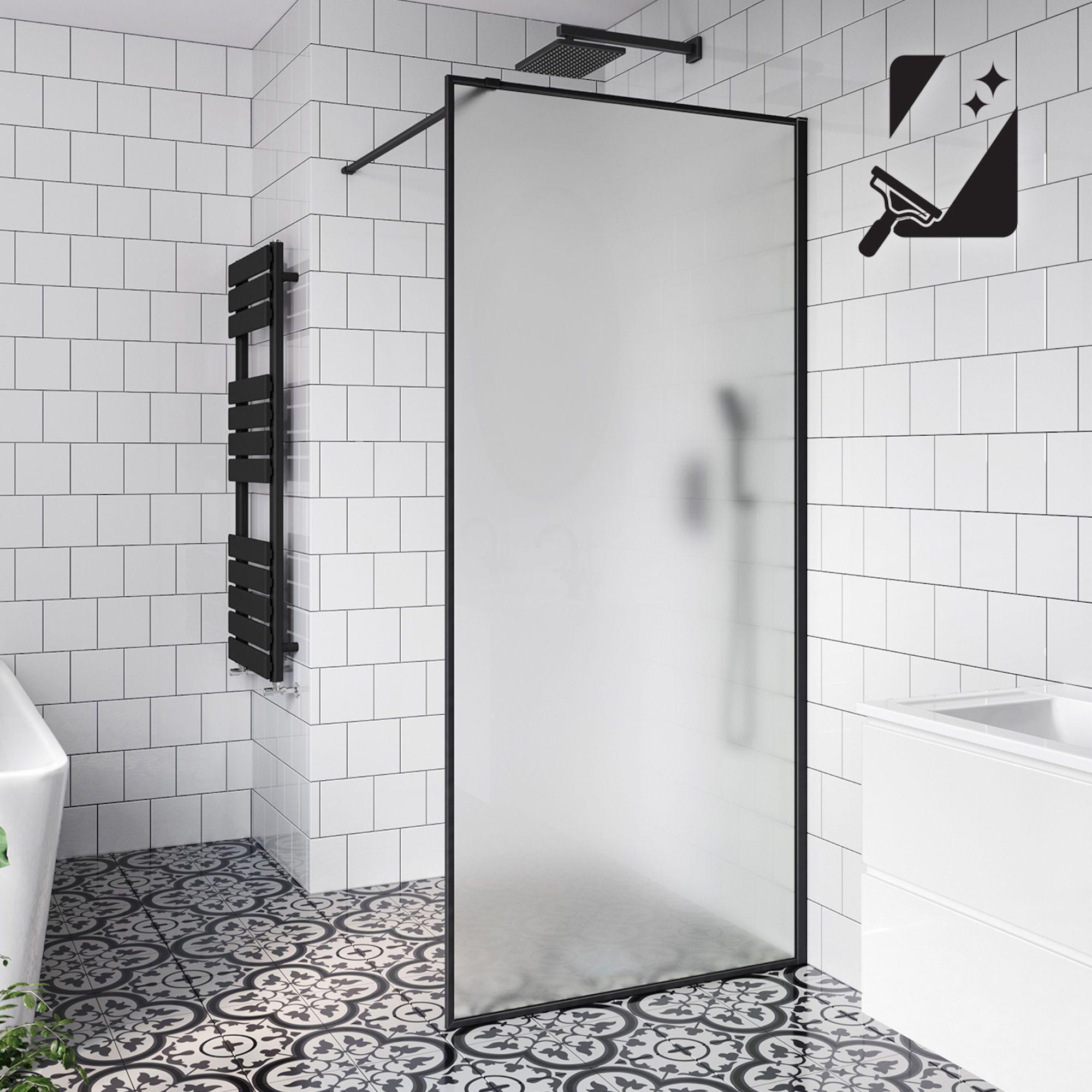 900mm 10mm Frosted Easyclean Glass Wetroom Panel Shower Screen Glass Shower Bathroom Shower Doors