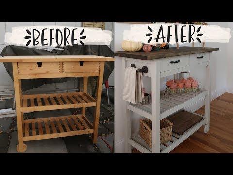 IKEA KITCHEN CART MAKEOVER// bar cart/ coffee bar diy