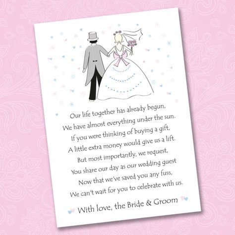 Money For Wedding Gift Wording : wedding poems wedding wording cash gifts catholic wedding wedding ...