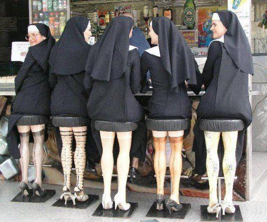 Nuns on bar stools