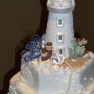 With An Edible Lighthouse Cake Topper This Beautiful Consists Of Three 9 Seashell Wedding
